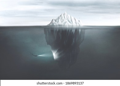 illustration of scuba diver with torch illuminating the dark side of the iceberg underwater, surreal mind concept