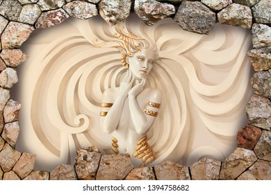 Illustration of sculpture of beautiful lady emboss on decorative pattern texture brown stone background 3D wallpaper. Graphical poster modern artwork