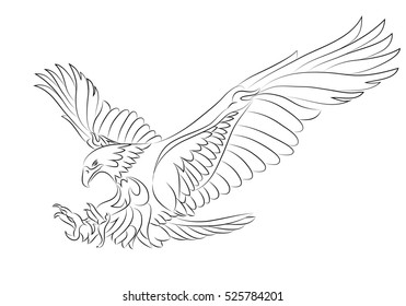 illustration of sea eagle tattoo symbol on isolated white background