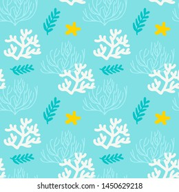 illustration. Sea seamless pattern with corals and seaweed. Blue, white, yellow background.