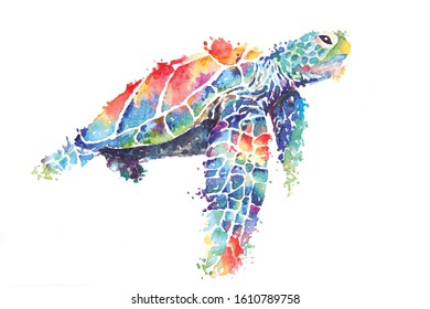 Illustration sea turtle painted with watercolors.The image of sea creatures swimming underwater world.Amphibian reptiles painted with brushes and isolated on a white background.