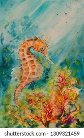 Illustration of seahorse, corals and shoal of fishes. Ocean underwater background. Picture created with watercolors.