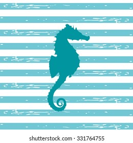 Illustration of a seahorse silhouette in a teal color with blue and white stripped background/Seahorse Illustration