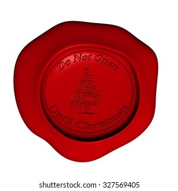 Illustration of Sealing wax on white with Do Not Open Until Christmas message