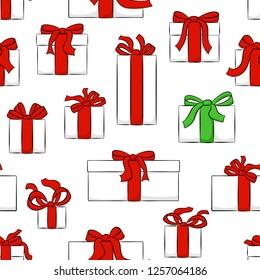 illustration of seamless christmas gifts pattern