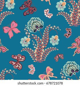 illustration of seamless pattern with abstract flowers. It can be used for web page background, surface textures, textile industry and others. Punk gray on blue