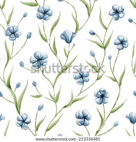 Illustration of seamless pattern with blue flowers