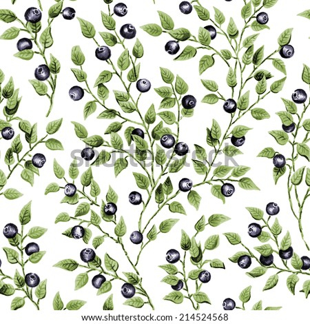 Illustration of seamless pattern with watercolor blueberry