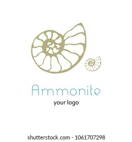 Illustration with seashell nautilus. Object for logo, card, flyer. Minimalist sign for logo, emblem, banner. Hand drawn illustration with ammonite fossil in modern style. Ancient shell.
