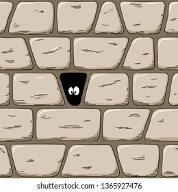 illustration of a seemless hand-drawn cartoon wall with eyes looking out of a hole