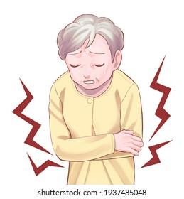 腹痛の老婦人のイラスト