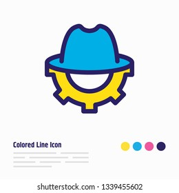 illustration of SEO whitehat icon colored line. Beautiful marketing element also can be used as trilby with cogwheel icon element.
