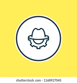 illustration of SEO whitehat icon line. Beautiful marketing element also can be used as trilby with cogwheel icon element.