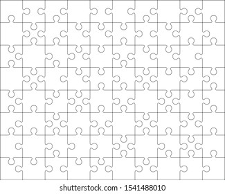Illustration of separate parts of white puzzle