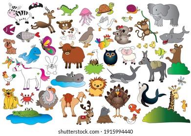 illustration of set animal isolated