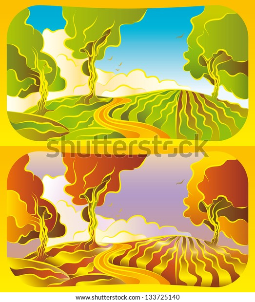 Illustration with a set of an autumn and summer landscape.