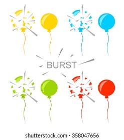 Illustration Set Colorful Popped Balloons Isolated on White Background - raster