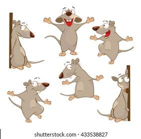 Illustration of a Set of a Cute Cartoon Cute Rats