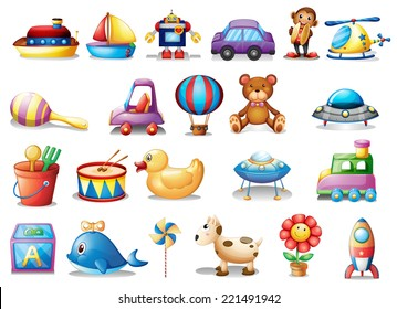 Illustration of the set of different toys on a white background