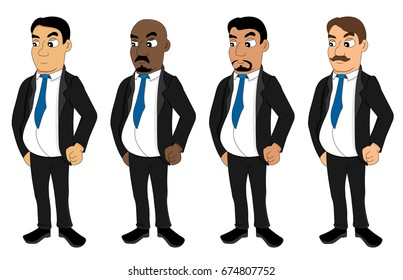Illustration set of diverse businessmen dressed in suit and tie, isolated on a white background