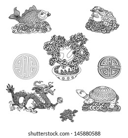 Illustration set with Feng Shui motives. Dragon, frog, fish, turtle and money tree