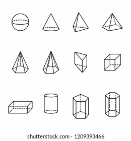 The illustration of a set of geometric solids