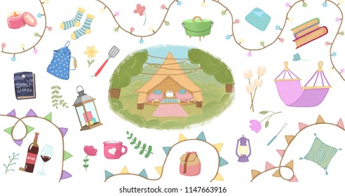 Illustration set of glamping, camping, outdoor.