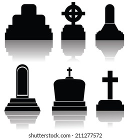illustration with set of gravestone silhouettes  on a white background