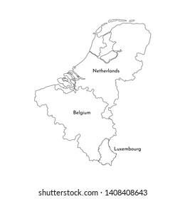 illustration set with isolated black line silhouettes of BeNeLux States maps (simplified outlines). Belgium, Netherlands, Luxembourg
