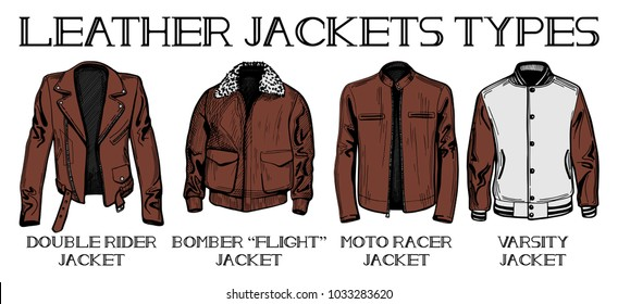 illustration set of leather jackets main types double rider bomber or flight moto