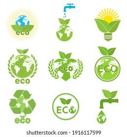 illustration set logo ecology, green energy environment on white background