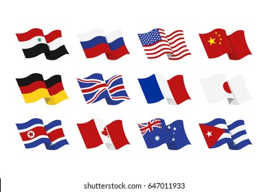 illustration set of the national flags of Syria, Russia, USA, China, Germany, Britain, France, Japan, North Korea, Canada, Austria, Cuba on white background.