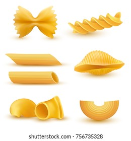 illustration set of realistic icons of dry macaroni of various kinds, pasta, fusilli, conchiglio, rigatoni, farfalle, penne isolated on white background