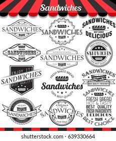 Illustration set of sandwiches retro vintage labels, badges and logos.