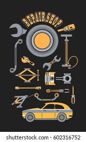 illustration set of tools for car repair