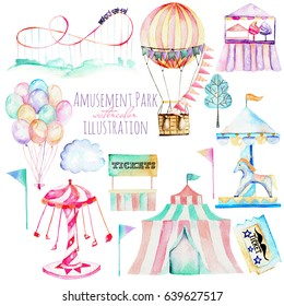 Illustration set with watercolor elements of amusement park, hand drawn isolated on a white background, carousels, aerostats, air balloons and other