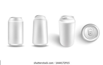 illustration set of white blank aluminum can mockup from different angles for alcohol or fizzy drink branding and advertising in realistic 3d style - isolated metallic pack for beer or soda.