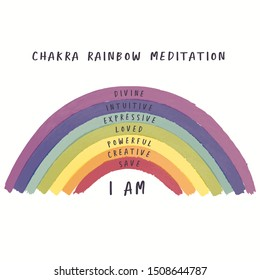 Illustration of Seven Chakra Meditation with colorful dark Rainbow for Children