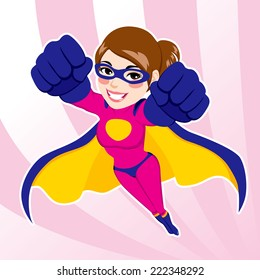 Illustration of sexy beautiful fit woman in superhero costume flying