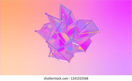 illustration of a shape metamorphosis of a polygonal semi transparent model. Multicolor polygonal 3D blot.