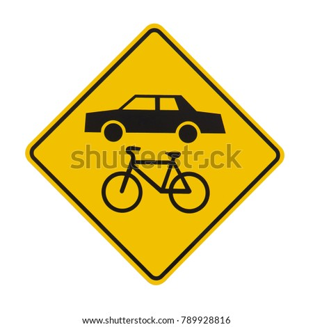 """Illustration of a """"Share the road"""" road sign, isolated on white. This sign reminds motorists and cyclists to be respectful of each other."""