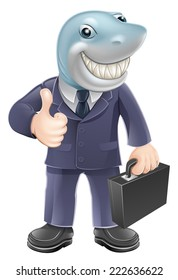 An illustration of a shark business man giving a thumbs up. Concept for unscrupulous or dangerous business person.