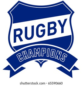 illustration of a shield with scroll and words rugby champions