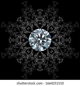 Illustration of shining crystal with luxury pattern