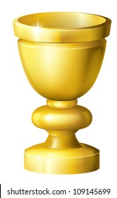 Illustration of a shiny golden cup grail or goblet