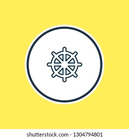 illustration of ship rudder icon line. Beautiful nautical element also can be used as helm icon element.