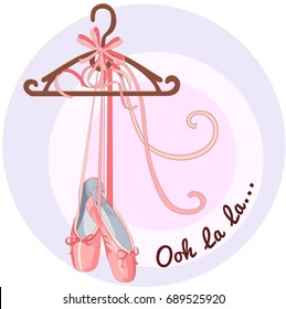 Illustration shoes with ribbons, Ooh la la, a cartoon icon isolated on white background