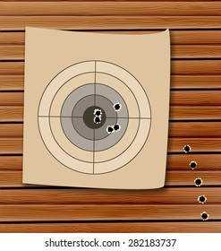 Illustration shooting range target with bullet holes - raster