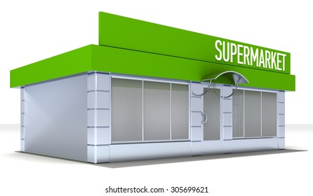 Illustration of shop or minimarket kiosk. Exterior