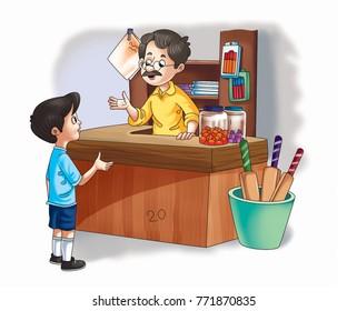 illustration of shopkeeper and boy talking